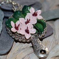 Handmade Cherry Blossom 'Through The Looking Glass' Pendant Necklace