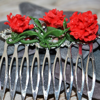 Handmade Polymer Clay Red Carnation Hair Comb
