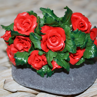Handmade Polymer Clay Red Rose Bangle