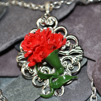 Handmade Polymer Clay Red Carnation Necklace