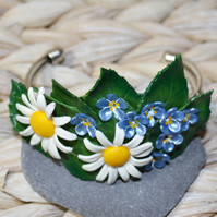 Handmade Oxeye Daisy and Forget Me Not Bangle