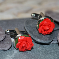 Handmade Deliciously Red Rose Cufflinks