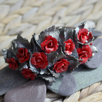Handmade Polymer Clay Red Rose and Silver Leaf Bangle