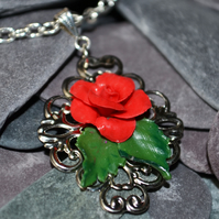 Handmade Polymer Clay Red Rose Filligree Necklace