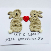 Personalised Anniversary Wedding Bunny Crochet Greeting Card