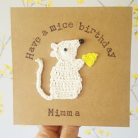 Mouse & Cheese Greeting Card Personalised Mouse Card, Crochet Mouse Card
