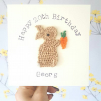 Personalised Handmade Crochet Bunny & Carrot Special Birthday Card