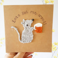 Rat & Beer Greeting Card Personalised Rat Card, Crochet Rat, Beer lovers card