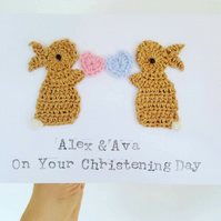 Personalised Twins Handmade Bunny Greeting Card for Christening, Baby Twins Card