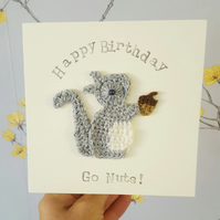 Personalised Handmade Crochet Squirrel & Acorn Greeting Card,  Special Birthday