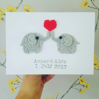 Personalised Anniversary Elephant Crochet Card, Elephant Wedding Card, Valentine