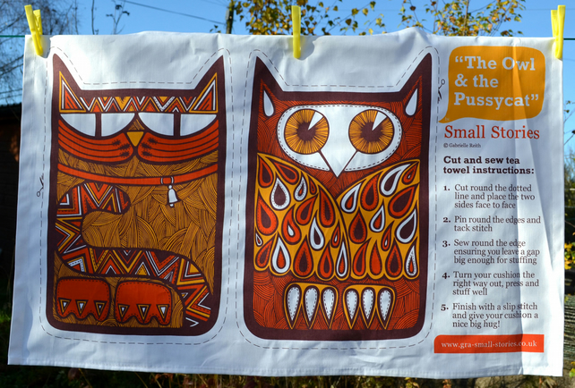Owl and the Pussycat cut and sew tea towel