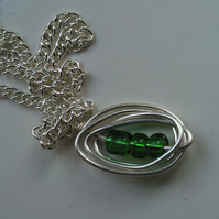 Silver Green Peas in a Pod Necklace
