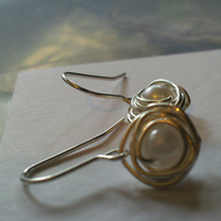 Silver Pearl Birds Nest Earrings