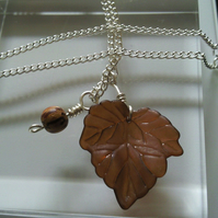 SALE - Brown Natural Leaf Silver Necklace