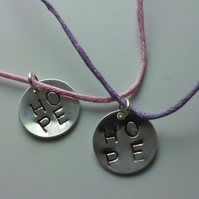 Silver Plated HOPE Hand Stamped Charm Bracelet