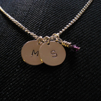 Single Silver Plated Personalised Disc Necklace with Swarovski crystal