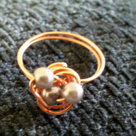 Copper Silver Three Pearl Nest Ring