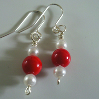 Silver hanging pearl and red earrings
