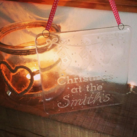 Personalised 'Chrismas at the' Glass Plaque