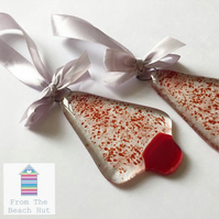 Fused Glass Cranberry Red Sprinkled Christmas Tree Decoration