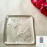 Handmade Fused Glass Butterfly Coaster