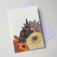 'Peacock with Flowers' Giclee printed greetings card