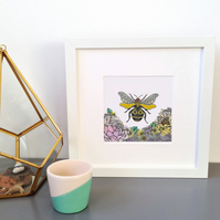 'Bee' Hand Embellished Framed print