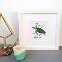 'Turtle and Fish' Framed Print