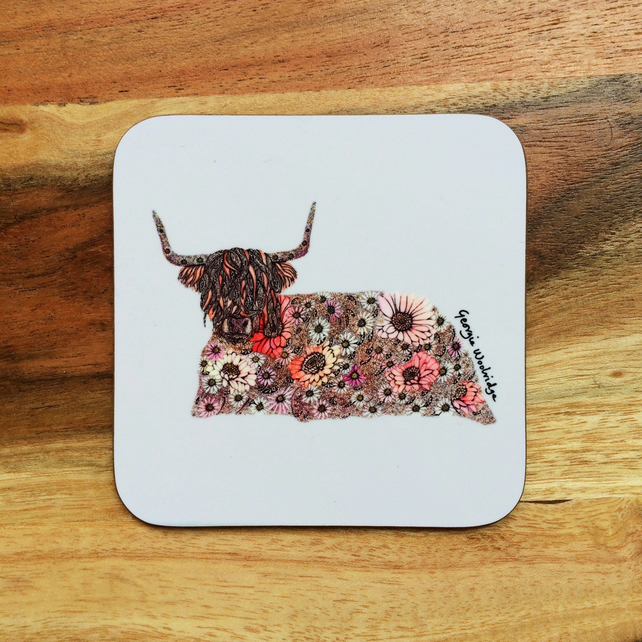 'Highland Cow' Coaster