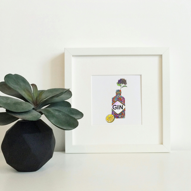 'Gin' Hand Finished Framed Print