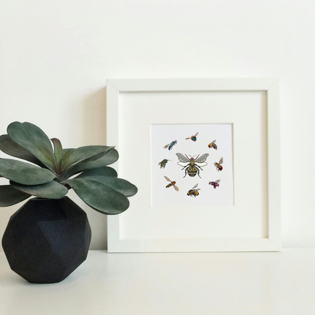 'Queen Bee' Hand Finished Framed Print