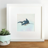 'Blue Shark' Hand Finished Framed Print