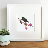 'Blackbird' Hand Finished Framed Print