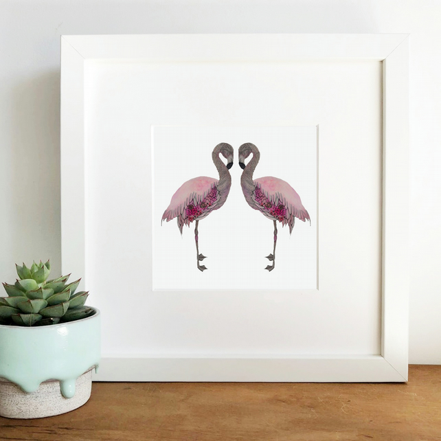 'Flamingo Love' Limited Edition Framed Print