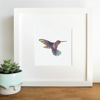 'Hummingbird' Hand Finished Framed Print