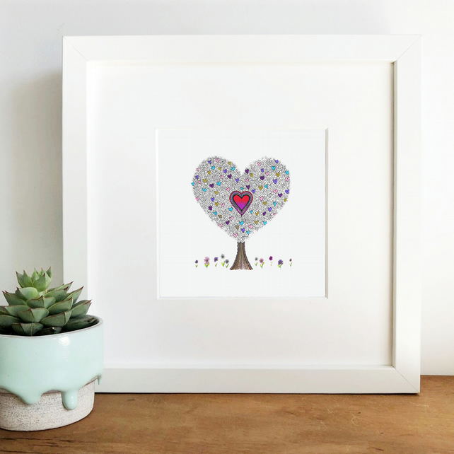 'Love Grows Here' Hand Finished Framed Print