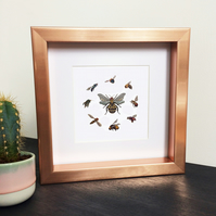 'Queen Bee' Rose Gold Framed Print