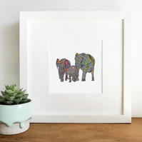 'Rainbow Safari' Framed Print