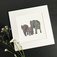 "'Rainbow Safari' 8"" x 8"" Mounted Print"