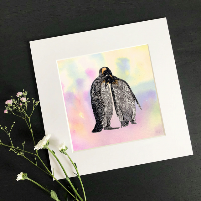 "'Penguin Love' 8"" x 8"" Mounted Print"