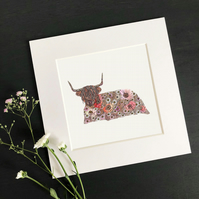 "'Highland Cow' 8"" x 8"" Mounted Print"