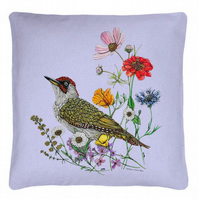 'Green Woodpecker' Cushion Cover