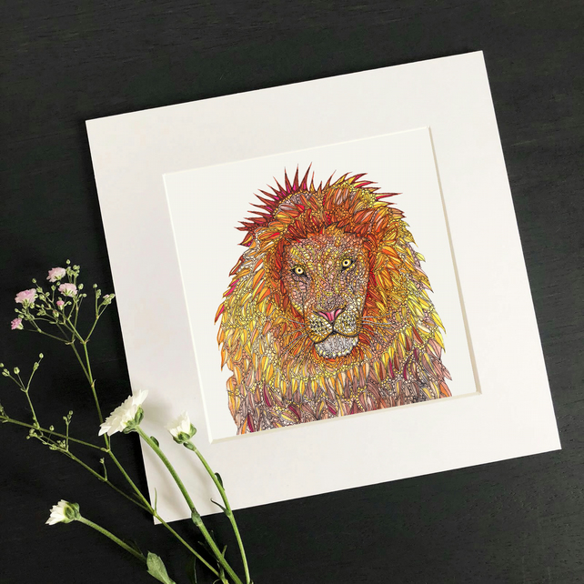 "'Lion' 8"" x 8"" Mounted Print"