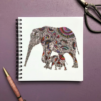'Elephants' Square Notebook