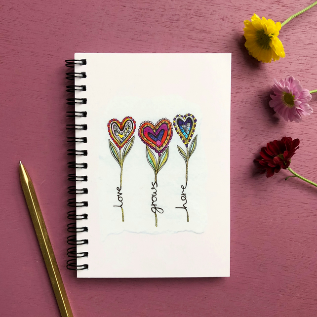 'Love Grows Here' A6 Notebook