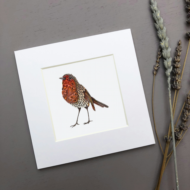 'Robin Love' Mini Mounted Print