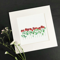 "'A Dozen Red Roses' 8"" x 8"" Mounted Print"