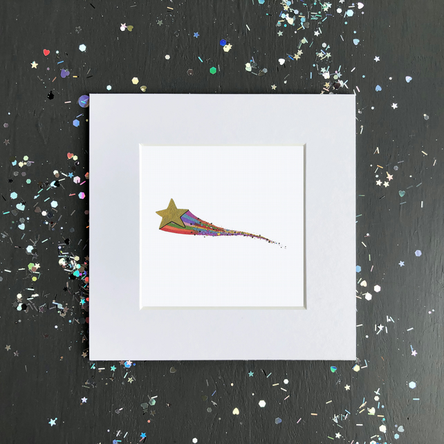'Shooting Star' Mini Mounted Print