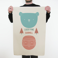 SALE 'Lucky Pine Sawmill' Tea Towel